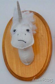 angry unicorn 5x7x4 fiber 2013 $40